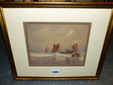 ODE MORTON (19th.C.) FISHER FOLK AND BOATS ON THE SHORELINE, SIGNED AND DATED 1891 WATERCOLOUR. 15 x