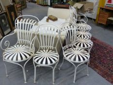 A RARE SET OF SIX FRANCOIS CARRE SPRUNG STEEL SEAT AND BACK CIRCULAR SEAT CAFE CHAIRS.(C.1930'S).