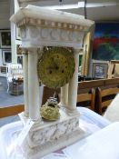 A 19th.C.MARBLE CASED PORTICO CLOCK WITH GILT BRASS DIAL SIGNED LANNAUX A.VESOUL.