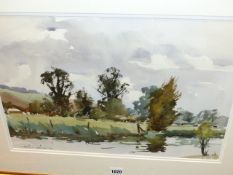 EDWARD WESSON (1910-1983) (ARR) ON THE WYLYE AT WISHFORD, SIGNED WATERCOLOUR. 32 x 49cms.