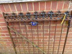 A WROUGHT IRON GARDEN GATE WITH ENAMEL No.8 PLAQUE.