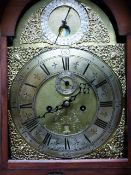 """A GEO.III.MAHOGANY AND LINE INAID 8-DAY LONG CASE CLOCK WITH 12"""" ARCH TOP BRASS DIAL, SILVERED"""