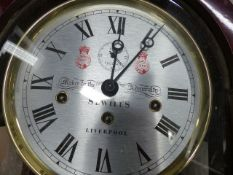 A GOOD SEWILLS OF LIVERPOOL REGULATOR TYPE WALL CLOCK WITH WEIGHT DRIVEN CHIMING MOVEMENT. H.