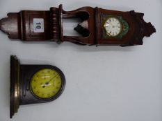 AN INTERESTING SMALL CARVED MAHOGANY CASED WALL CLOCK WITH SWISS MOVEMENT TOGETHER WITH AN ART