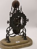 A VICTORIAN BRASS SKELETON CLOCK ON MARBLE BASE WITH SINGLE FUSEE MOVEMENT. H.39cms.