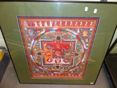 A TIBETAN FRAMED MANDALA DESIGN THANGKA, GOUACHE. 60 x 50cms.