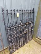 AN ANTIQUE WROUGHT AND CAST IRON LARGE GARDEN GATE.