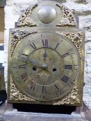 "AN 18th.C.IRISH LONGCASE CLOCK WITH 8-DAY BELL STRIKE MOVEMENT, 13"" BRASS ARCH DIAL SIGNED GEO."