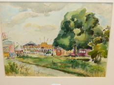 SYLVIA ALDBURGHAM (20th.C.) (ARR) TWO VIEWS OF HAMPSTEAD FAIR, WATERCOLOUR. 23 x 30 AND 25 x 34cms