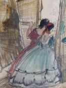 DAME LAURA KNIGHT (1877-1970) (ARR) OFF STAGE, TWO DANCERS, SIGNED WATERCOLOUR DATED 1948 TITLED
