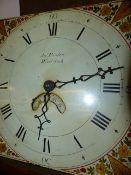 "A GEORGIAN OAK CASED 30 HOUR LONGCASE CLOCK WITH 11"" PAINTED DIAL SIGNED JNO FARDON, WOODSTOCK. H."