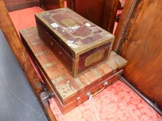 TWO ANTIQUE COLONIAL BRASS BOUND HARDWOOD DESK BOXES.
