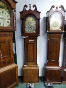"""A LATE GEORGIAN OAK AND MAHOGANY BANDED 8-DAY LONG CASE CLOCK WITH 11.5"""" ARCH TOP BRASS DIAL WITH"""