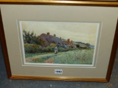 M.F.MAY (LATE 19th/EARLY 20th.C.) FIGURES BY A COTTAGE, SIGNED WATERCOLOUR. 19 x 26.5cms.