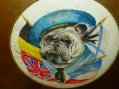 SYDNEY CHIPPERFIELD (20th.C.) BRITISH BULLDOG WEARING AN H.M.S.ALLIES HAT, SIGNED AND DATED 1914,