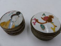 TWO CHINESE FAMILLE ROSE MOUNTED WHITE METAL DRESSER BOXES.