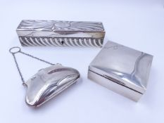 "A SILVER HALLMARKED COIN PURSE, TOGETHER WITH A SILVER HINGED PRESENTATION BOX ENGRAVED ""BRIGADE"