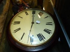 """AN EARLY MAHOGANY CASED 12"""" CONVEX DIAL FUSEE WALL CLOCK WITH UNSIGNED REPAINTED DIAL AND CAST"""