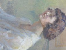 J.L. GRAHAM (EARLY 20th.C.) (ARR) PORTRAIT OF A YOUNG WOMAN SIGNED AND DATED 1922. WATERCOLOUR. 36.5