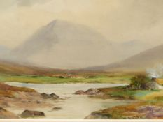 WILLIAM BINGHAM MCGUINESS R.H.A. (1849-1928) IRISH MOUNTAIN LANDSCAPE WITH COTTAGES, SIGNED