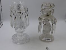 TWO 19th.C. GLASS TABLE LUSTRES. H.25cms.
