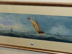 ENGLISH SCHOOL (LATE 19th/EARLY 20th.C.) SAILING VESSELS ON A COASTLINE AND COMPANION OF STEAM