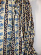 TWO PAIRS OF BESPOKE BLUE AND CREAM LEAF STRIPE PATTERN LINED AND INTERLINED DRAPES/CURTAINS WITH