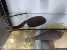 A GROUP OF VINTAGE TRIBAL MADE ABORIGNAL MINIATURE TRADITIONAL IMPLEMENTS TO INCLUDE A BARB SPEAR,