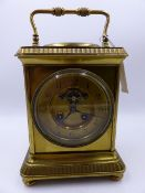 AN IMPRESSIVE 19th.C.BRASS CASED DESK CLOCK /BAROMETER, VISIBLE ESCAPEMENT, DIAL SIGNED