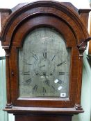 "A LATE GEORGIAN PAINTED PINE CASED 8-DAY LONGCASE CLOCK WITH 12"" SILVERED ARCH DIAL AND SUBSIDERY"