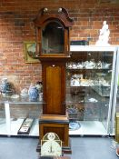 """A 19th.C.OAK AND MAHOGANY CASED 8-DAY LONGCASE CLOCK WITH PAINTED 13""""ARCH TOP DIAL, SIGNED"""