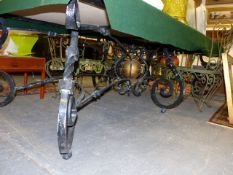 A LARGE AND IMPRESSIVE GOOD QUALITY WROUGHT IRON AND BRASS MOUNTED TABLE BASE