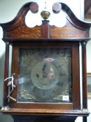 "AN 18th.C.OAK CASED LONGCASE CLOCK WITH 12"" BRASS SQUARE DIAL SIGNED PENTON, LONDON, ADAPTED AND NOW"