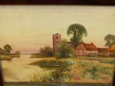 F.GORDON FRASER (19th.C.) NEAR HOLYWELL ON THE OUSE, SIGNED WATERCOLOUR HEIGHTENED IN WHITE. 37 x