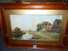 MARGARET SMTIH (EARLY 20th.C.) COTTAGE AND FIGURE ON A TOWPATH, SIGNED WATERCOLOUR. 24 x 45cms.