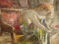 MANNER OF THE CAMDEN TOWN GROUP, LADY DRESSING IN AN INTERIOR. MIXED MEDIA. 36 x 30.5cms.