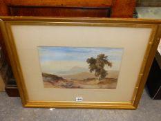 STYLE OF WILLIAM LEIGHTON LEITCH. MOUNTAINOUS LANDSCAPE, WATERCOLOUR. 22 x 33cms,.