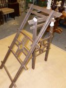 TWO JAPANESE KIMONO STANDS AND AN ORIENTAL BAMBOO STOOL. (3)