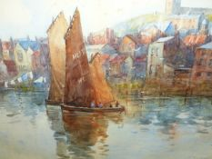 Frank Rousse (?) SAILING BARGES NEAR A TOWN,WHITBY SIGNED AND INDISTINCTLY DATED, WATERCOLOUR. 2