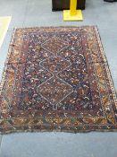 AN ANTIQUE PERSIAN SHIRAZ RUG. 190 x 162cms.