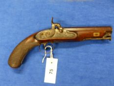 A GOOD PERCUSSION PISTOL WITH DAMASCENE OCTAGONAL BARREL, THE LOCK SIGNED E & W BOND, CHEQUERED GRIP