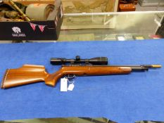 A GOOD DAYSTATE MIRAGE MKII .22 PRE-CHARGE AIR RIFLE, SERIAL No.XLR2217 WITH WALNUT STOCK AND FITTED