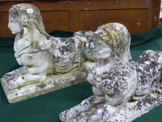 A PAIR OF ANTIQUE WEATHERED STONE FIGURES OF RECUMBENT SPHINX. L.77cms.