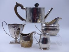 VARIOUS PIECES OF SILVER HALLMARKED TABLE WARE TO INCLUDE THREE CREAMERS, A BALUSTER TANKARD AND A