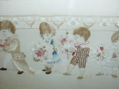 A FRAMED EDWARDIAN LINEN AND SILKWORK PANEL OF FIVE CHILDREN WITHIN A FLORAL SCROLLWORK. 41 x