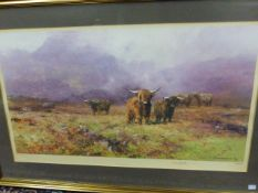 DAVID SHEPHERD. (1931-2017) HIGHLAND CATTLE, A PENCIL SIGNED LIMITED EDITION COLOUR PRINT. 45 x