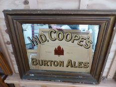 AN IND COOPE'S BURTON ALES ADVERTISING MIRROR IN GILT FRAME. 67 x 57cms.