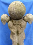A LARGE ART DECO COMPOSITE STONE STATUE OF CHILDREN SUPPORTING A SPHERE. APPROX. H. 140cms.