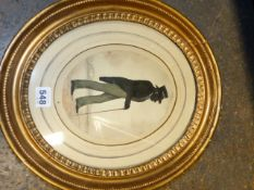 A 19th.C. OVAL SILHOUETTE PORTRAIT OF A GENTLEMAN WEARING A TOP HAT. 20 x 16cms. TOGETHER WITH A