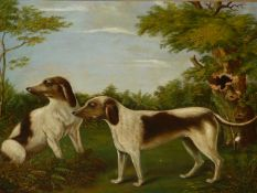 19th.C.ENGLISH NAIVE SCHOOL. TWO DOGS IN A WOODED LANDSCAPE, OIL ON CANVAS IN MAPLE FRAME. 43 x